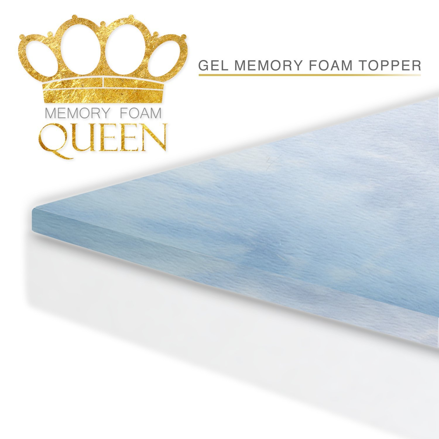 Memory Foam Cool Gel Mattress Topper ( King Size ). For Better Sleep and Extra Comfort. 60 Night Sleep Trial. Made In USA. Mattress Pad Perfect for Improving Existing Mattresses