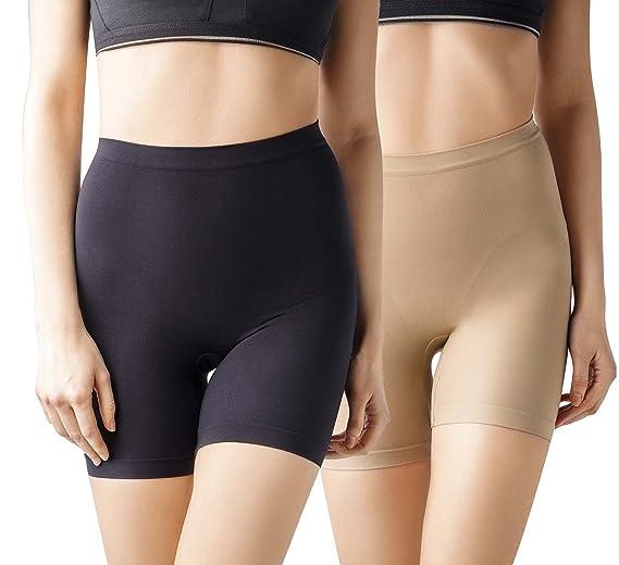 829239109b MD Women s Seamless Shapewear Mid Thigh Tummy Shaper Slimmer Power Shorts  XLarge Black Nude