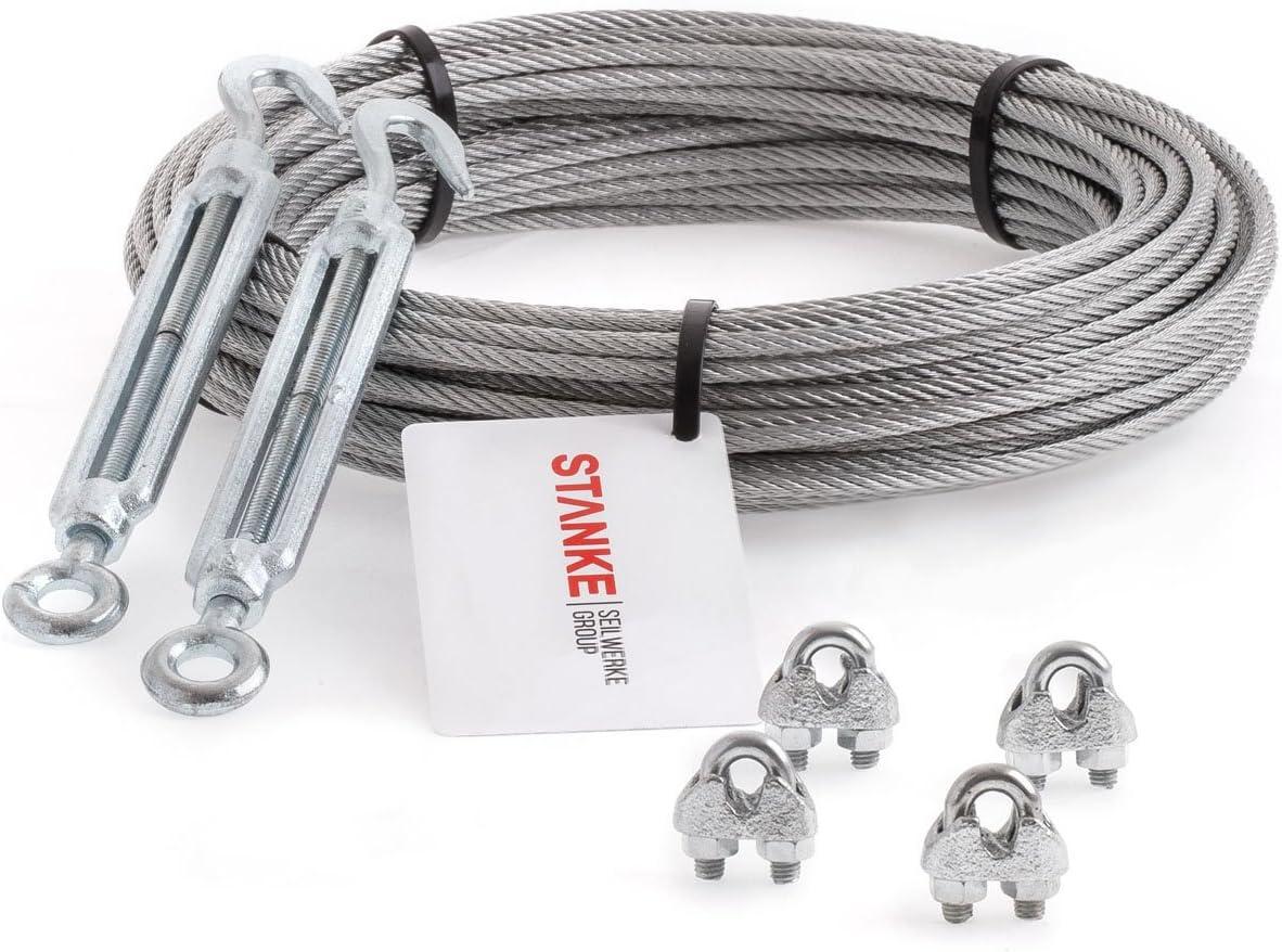 4x Kausche 8x B/ügelformklemme Seilwerk STANKE Rankhilfe PVC Drahtseil ummantelt verzinkt 200m Stahlseil 2mm 1x19 SET 2