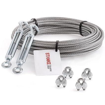anilla Juego de 6 6 x 7 Seilwerk STANKE Cable de acero trenzado galvanizado de 3 mm 4 tensores M5 gancho 16 guardacabos 16 abrazaderas