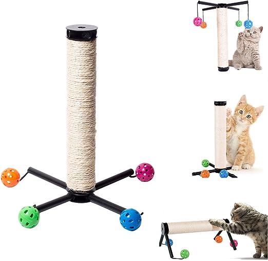 OSPet Rascador para gatos, sisal natural, resistente a los arañazos, pequeño rascador para gatos, tabla de actividades, árbol de escalada con bola colgante de juguete: Amazon.es: Productos para mascotas
