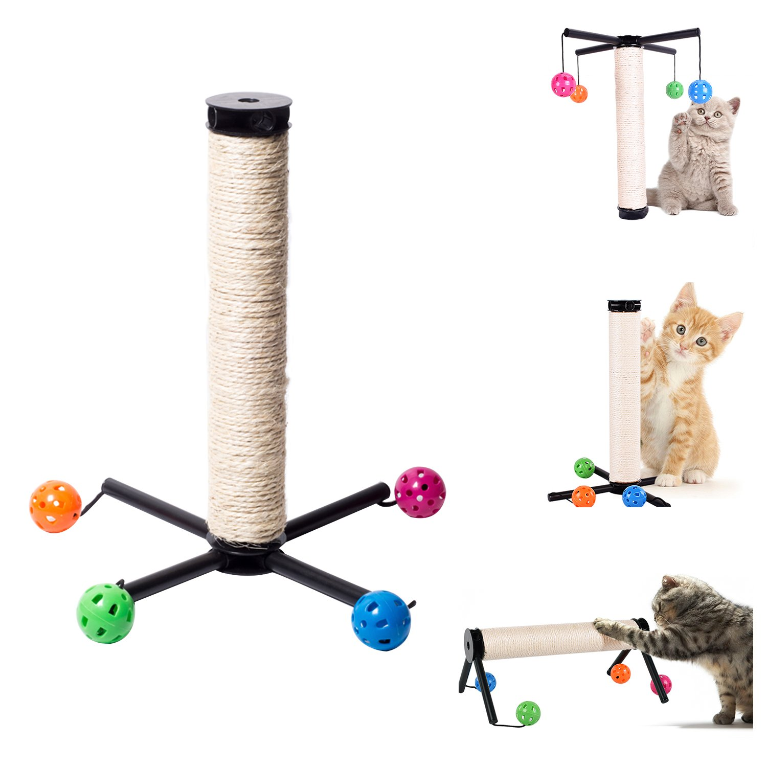 OSPet Sisal Cat Scratching Post Scratcher Activity Board Cats Claws Tree with Dangling Ball Toy