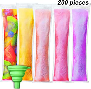 200 Pieces Disposable Ice Mold Bags Freeze Popsicle Bags Plastic Popsicle Pouches with Green Funnel for Yogurt Ice Candy Liquide DIY Supplies