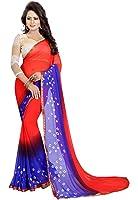 Ishin Women's Chiffon Saree With Blouse Piece (Swaya-Bandhanilacered_Orange & Purple)