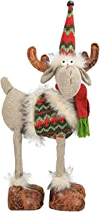 MACTING Plush Toy Reindeer 16.1 X 7.5 Inches Plush Stuffed Animal Moose Décor Plush Toy for Christmas Decorations, Christmas Ornaments - Burlap