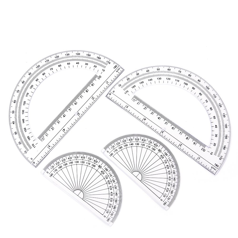 2+2 Pack Plastic Protractors 180 Degrees, 6 Inches and 4 Inch, Clear by changdadic
