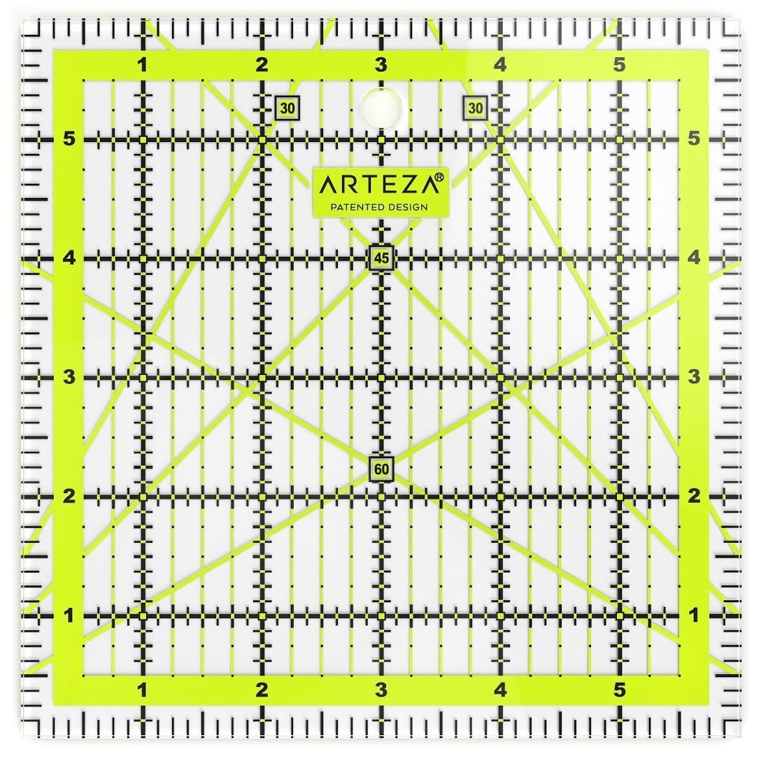 4.5X4.5, 6X6, 9.5X9.5, 12.5X12.5, Set of 4 Set of 8 Double-Colored Grid Lines ARTEZA Acrylic Quilters Ruler /& Non Slip Rings