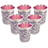 Taluka Set Of 6 Etching Embossed Design Steel Copper Glass Tumbler Cup, Drinkware Serveware, Health Benefits Ayurveda Yoga