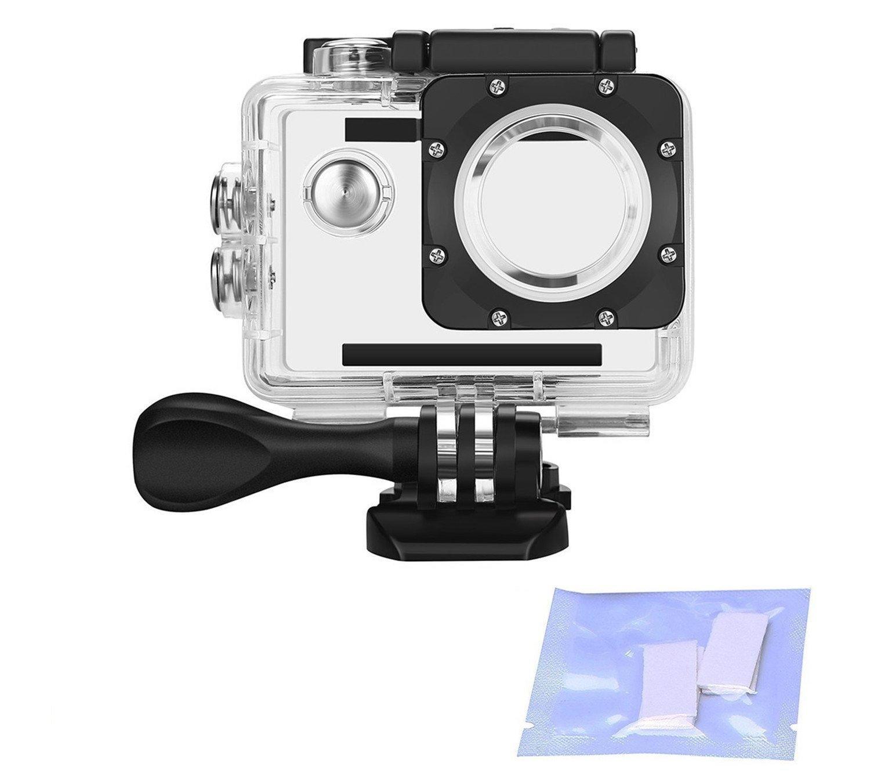 Vemico Action Camera Waterproof Case for AKASO EK7000 EK5000/DBPOWER/Lightdow/Campark/WIMIUS/EKEN/SJ4000/ODRVM/Lightdow/APEMAN/NEXGADGET With Anti-Fog Inserts (Clear)