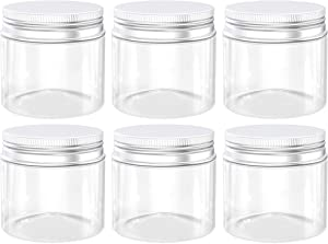 Axe Sickle 13 Ounce Plastic Jars Clear Plastic Mason Jars Storage Containers Wide Mouth With Lids For Kitchen & Household Storage Airtight Container 6 PCS