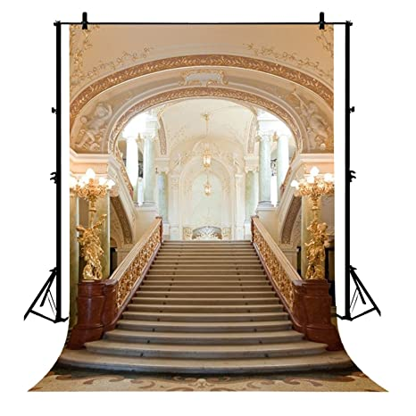 7x5ft Castle Interior Luxurious Palace Stair Droplight European Archiculture Staircase Girls Lover Wedding Party Event Polyester