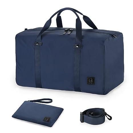 GAGAKU 45L Bolsa de Viaje Plegable Bolsa de Deporte Duffel Bag para Avión Cabina Impermeable Nylon - Azul