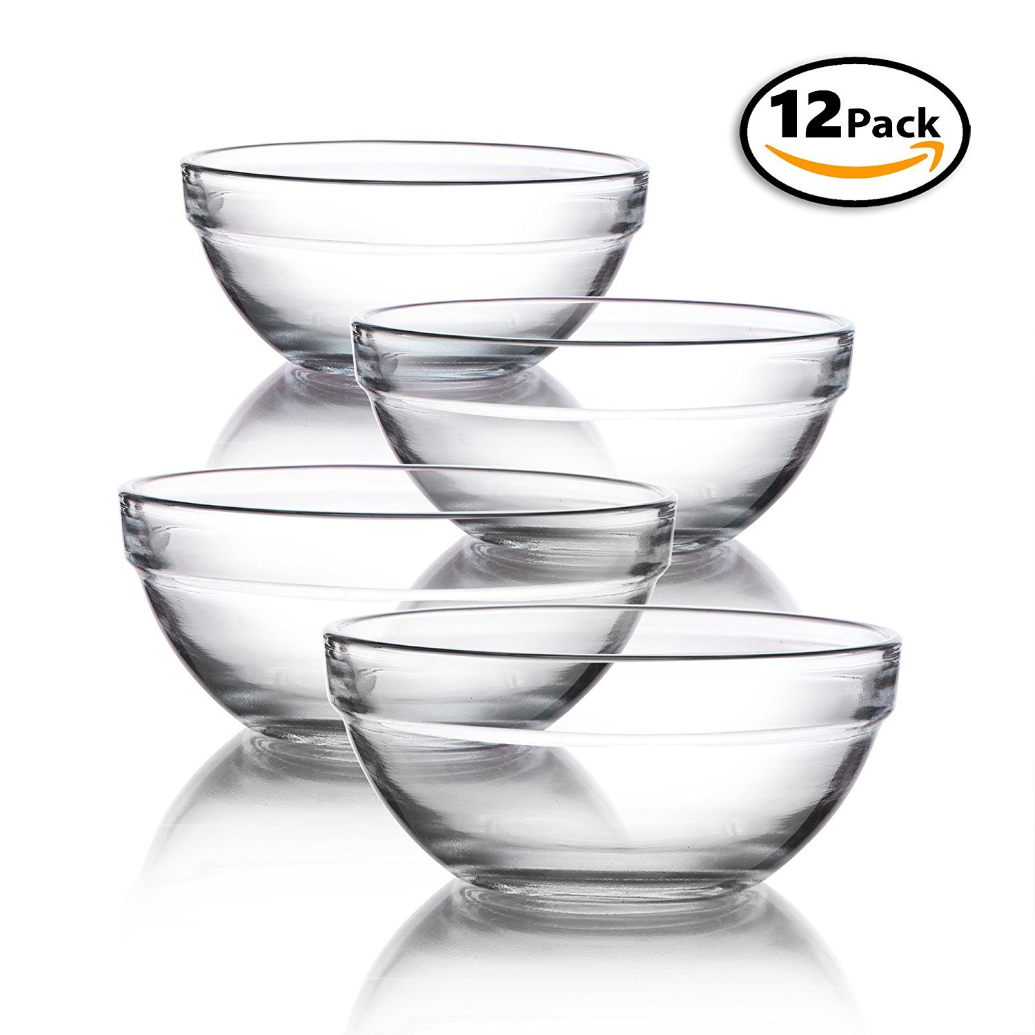 Mini 3.5 Inch Glass Bowls for Kitchen Prep, Dessert, Dips, and Candy Dishes or Nut Bowls, Set of 12 Greenbrier