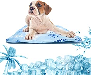 """Carrotez Dog Cooling Gel Mat. Mat Optimized for Prevent Body Temperature Rise in Pets Suffering from Heat. Easy Water Cleaning. Polyester Resistant to Scratches by pet Claws. S-Size, 15.75"""" X 11.8"""""""