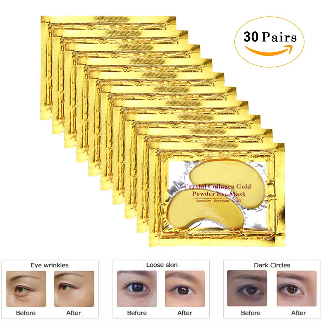 Genuva Gold Eye Mask Power Crystal Gel Collagen Masks For Anti Aging, Remove Bags, Anti Wrinkles, Moisturising, Hydrating, Dark Circles & Puffiness, 30 Pairs
