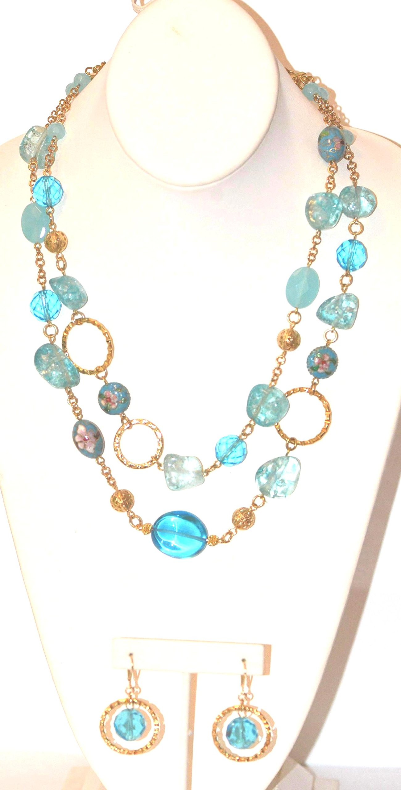 18'' Long 2 Row Necklace with Blue Glass Nuggets, Glass Beads, Cloisonne Bead + Matching Stone Earring
