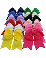 """QtGirl 12 Pieces 7"""" Extra Large Cheer Hair Bows with Clip for Girls Teens"""