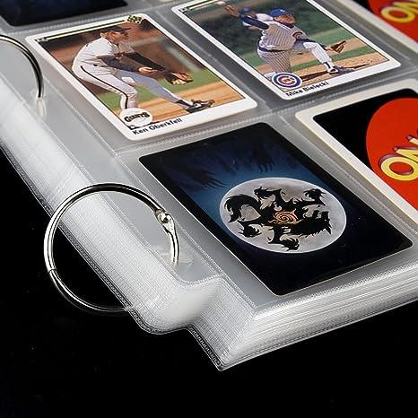 KUUQA 60 Fogli Tasche Neutre Tasche per Carte da Gioco Manicotto per Protezioni per Carte collezionabili Raccoglitore a 3 Anelli con 9 Tasche 540 Tasche