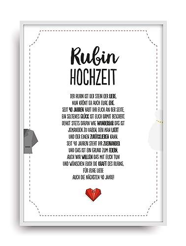 Hochzeit Karte Rubinhochzeit Kunstdruck 40 Hochzeitstag Rubin Brautpaar Bild Ohne Rahmen Din A4