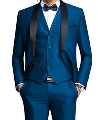 W:71 jacket+pants+tie United New Arrivals Blue Mens Suits Groom Tuxedos Groomsmen Wedding Party Dinner Best Man Suits