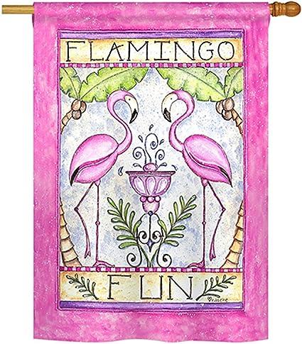 Amazon Com Breeze Decor Flamingo Fun Garden Friends Everyday Impressions Decorative Vertical House Flag 28 X 40 Printed In Usa Garden Outdoor