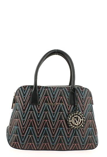 7ddba6dc277c Amazon.com  Versace EE1VRBBY7 Black Multicolor Dome Satchel for ...