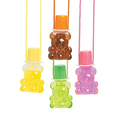 Kicko Bear Bubble Bottle Necklaces - Pack of 12 - Bottle 1.5 X 3 Inches, 30 Inch Cord Assorted Colors Cool Bear Bubble Bottles with Wand - for Kids Party Favors, Fun, Toy, Prize: Toys & Games