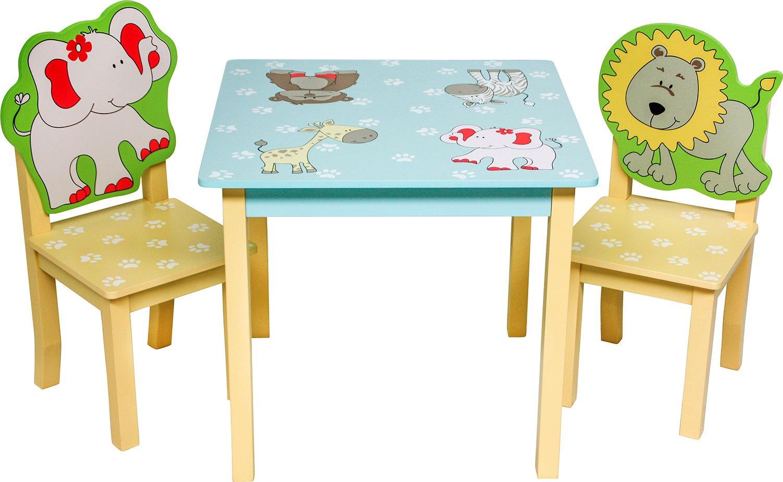 3 combinazioni IB-Style Set di mobili per bambini SAFARI Set composto da tavolo per bambini e 2 sedie
