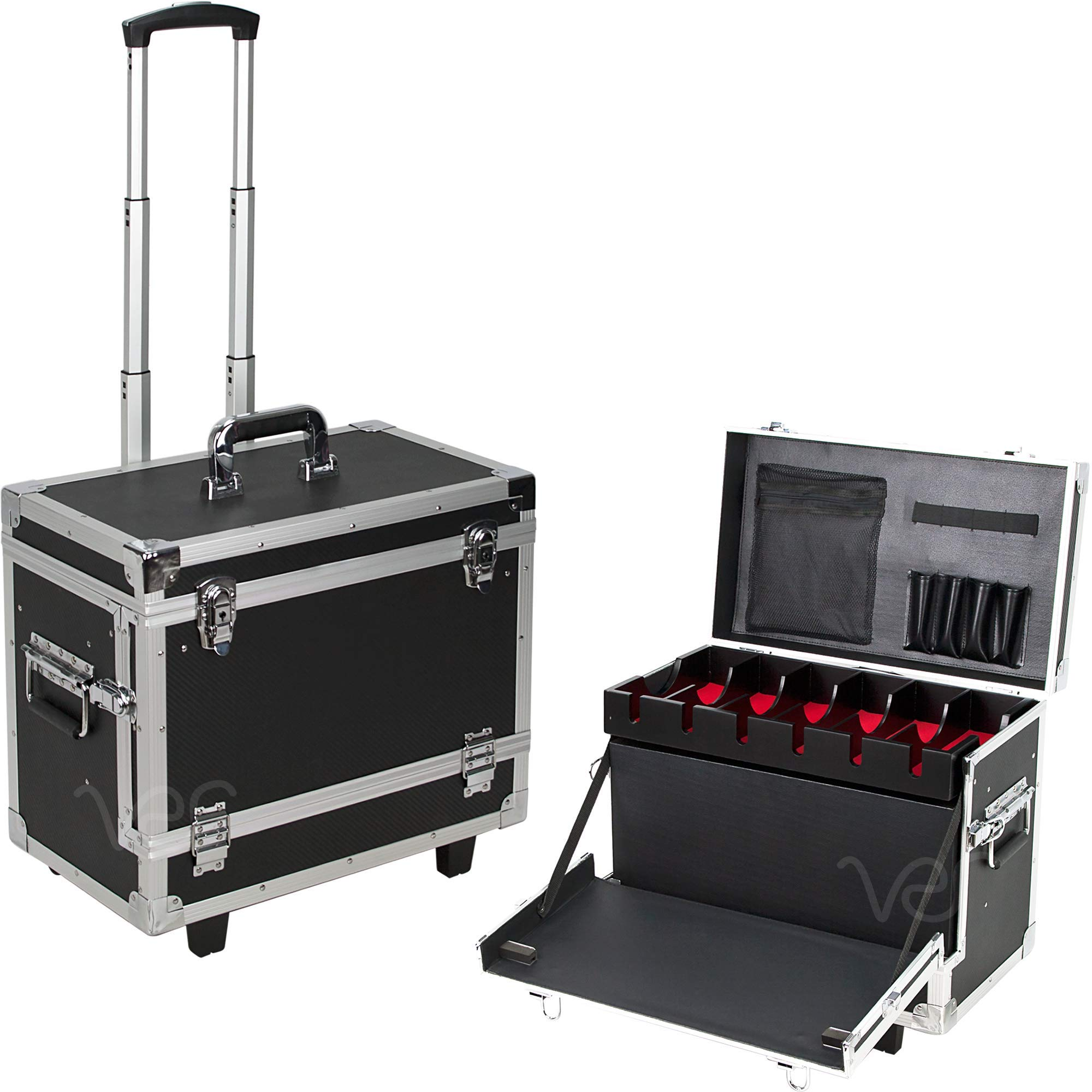 Professional New Black Fiber Finish Aluminium Rolling Barber Case Salon Tool Box by Ver Beauty. 19'' x 11'' x 15.5'' contains Barber Supplies - Clippers, Hair Styling Tools, Bottles and more
