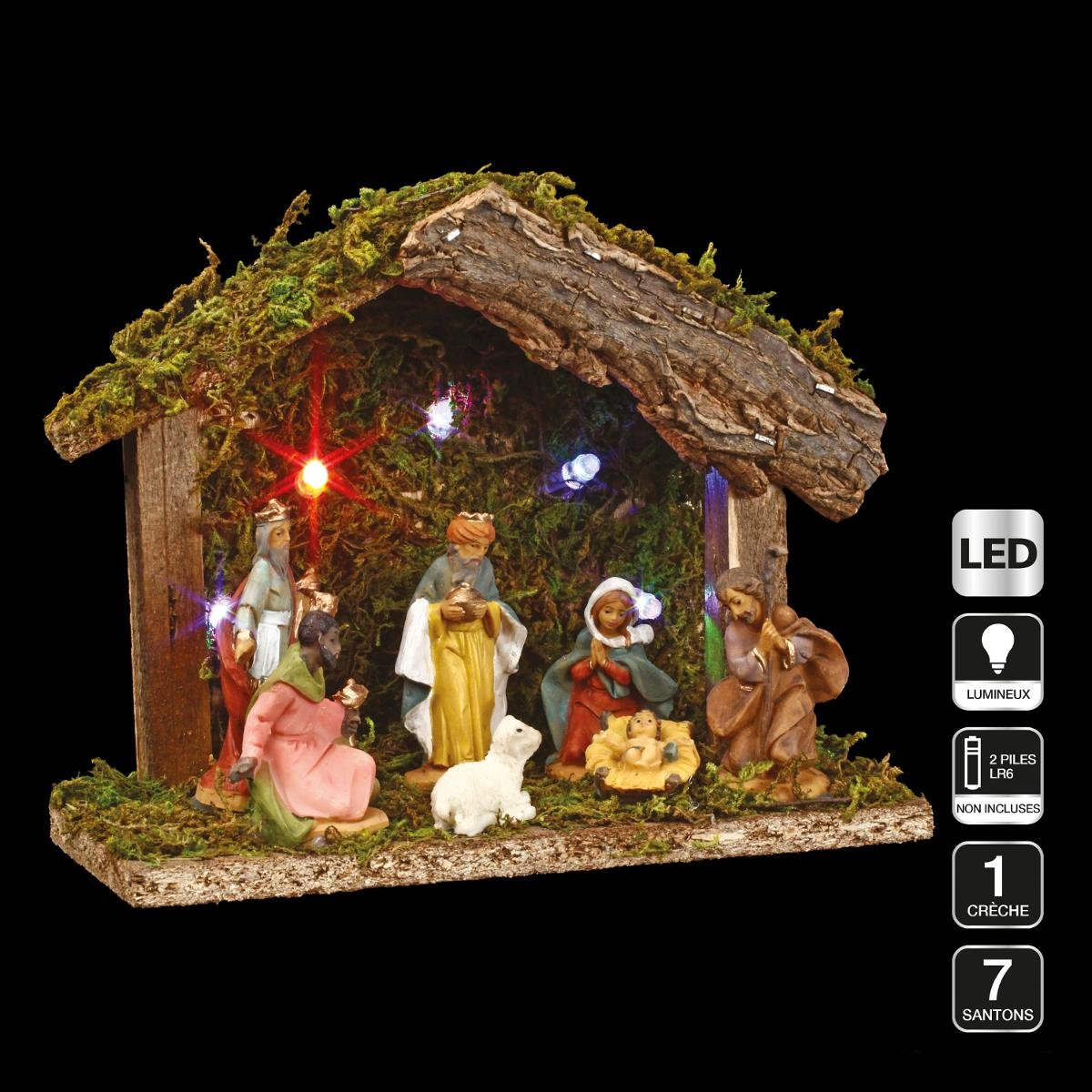 3 in 1 Christmas decoration : 1 Nativity scene + 7 figurines + LED lighting