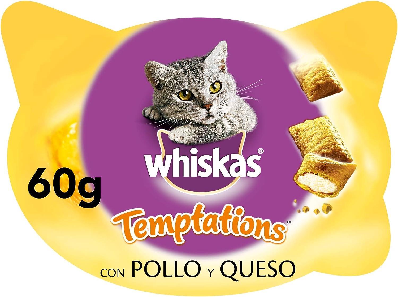 Whiskas Premios Temptations para educar a tu gato, sabor pollo (pack de 8 x 60g)
