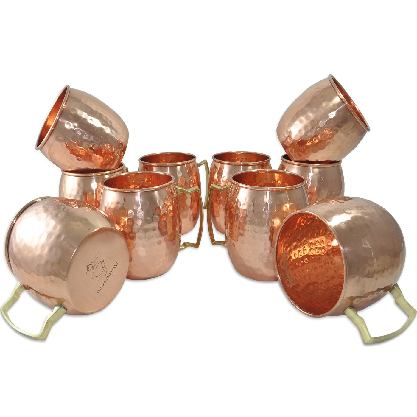 Dakshcraft Moscow Mule Copper Mugs Copper Drinking Cups and Mugs(Capacity - 500 ml / 16.90 oz), Set of 10