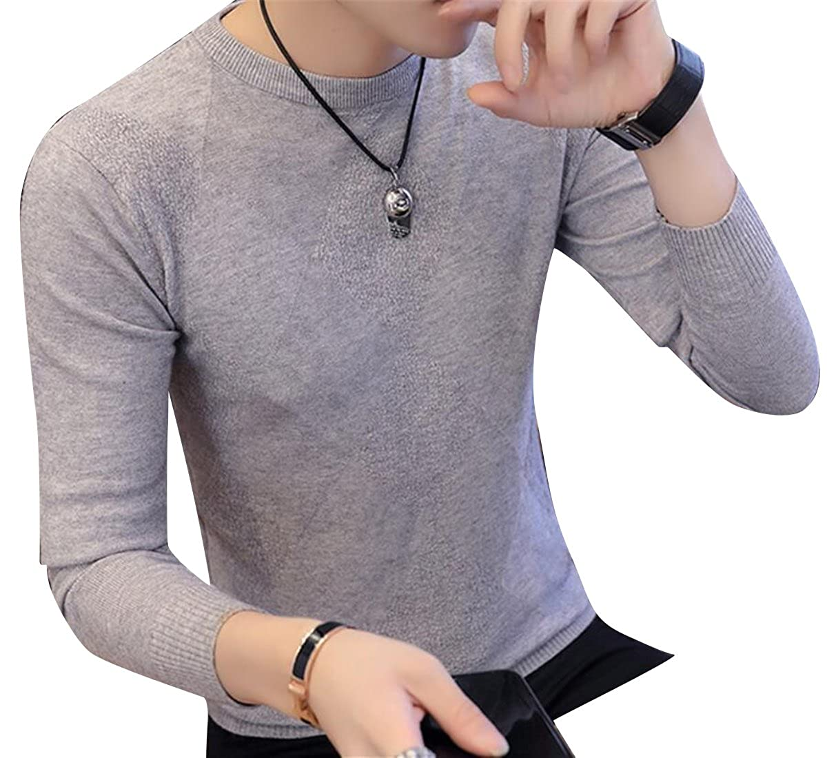 Mstyle Men Knitted Fashion Casual Round Neck Winter Solid Long Sleeve Pullover Sweaters Grey S