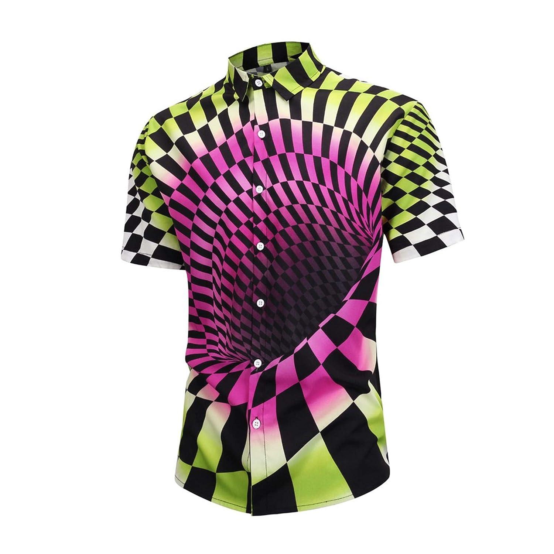 BAOHOKE Mens Lattice Print Casual Turn Down Collar Shirts 3D Vortex Short Sleeve Shirt Top Blouse