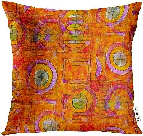 koniqiwa Fundas de cojín Colorido Artístico Naranja Cubismo