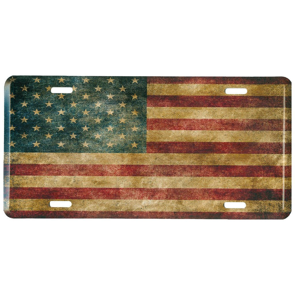 6 x 12 inches Trailer Truck Vintage USA Auto Tag for Car RV Distressed American Flag Metal Front License Plate