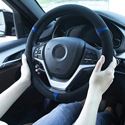 Auto Steering Wheel Cover, Comfortable Grip, Anti-Slip, Sweat Absorbing Universal 15 Inches: Automotive