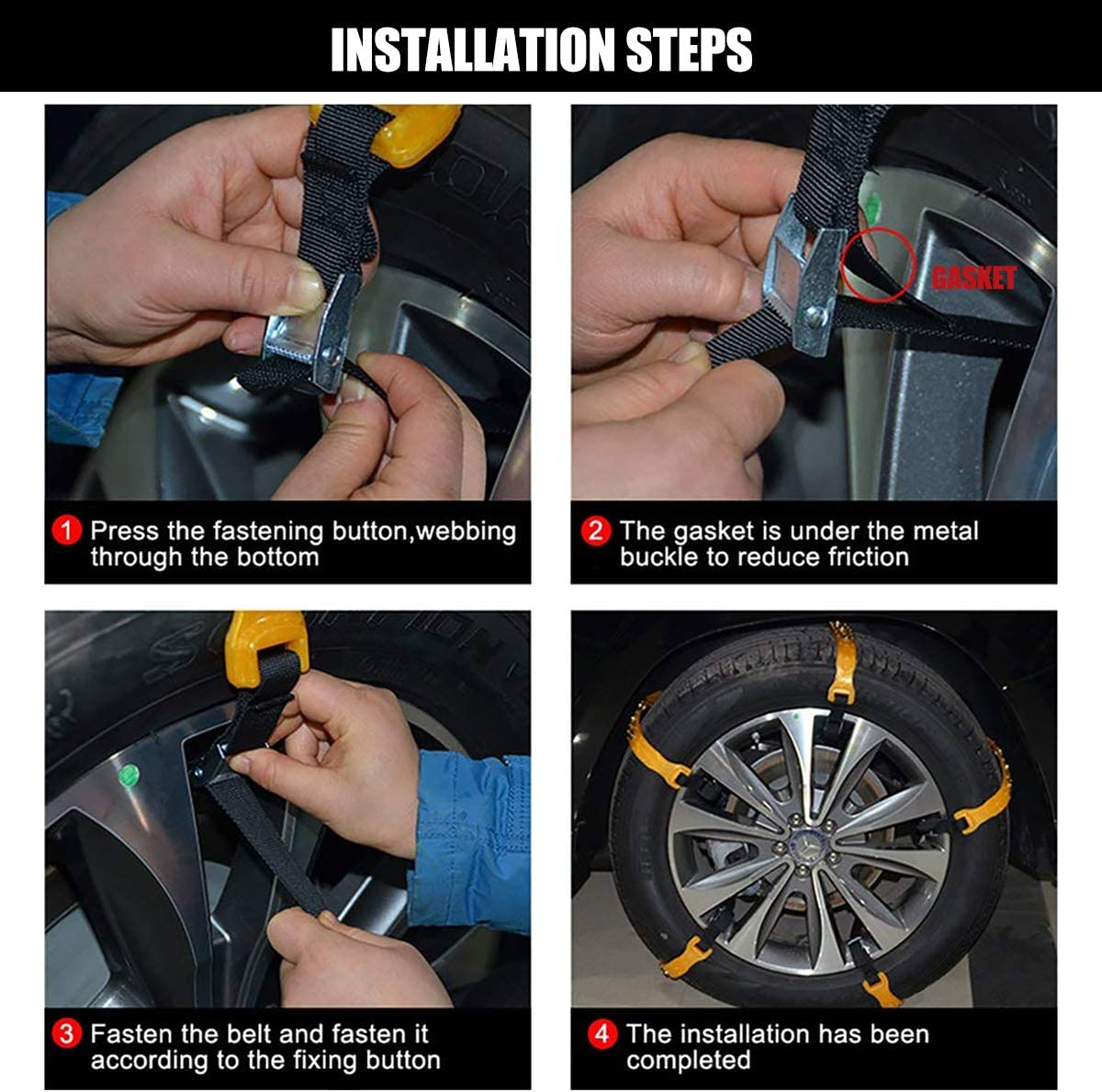 MeiLiMiYu Snow Chains for Car Anti Slip Car Chains 10 PCS Vehicle Snow Cables Security Tire Chains for Most Car//Truck//SUV