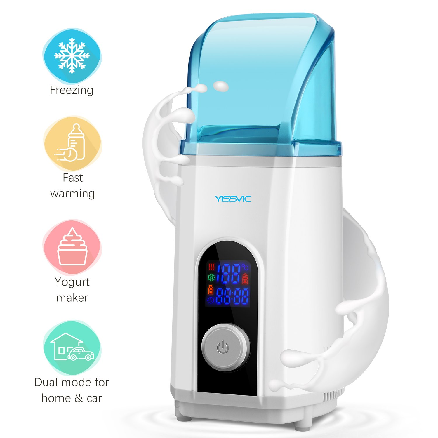 Baby Bottle Warmer Cooler Yogurt Maker 3 in 1 with LED Display for Home and Car Use (450ml) by YISSVIC (Blue) Earthly Paradise