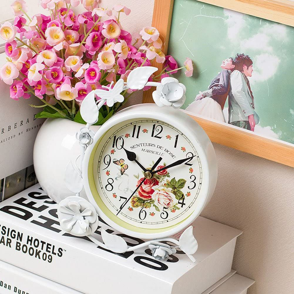 Vert S.W.H Horloge de Table D/écorative avec Papillon et Fleurs Design Horloge de Bureau Fer Maison D/écor Cadeau