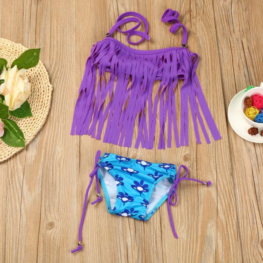 2Pcs Baby Girl Tassels Swimsuit Swimwear Bathing Bikini Set Kids Clothes Outfits Digood For 1-5 Years Old Girls