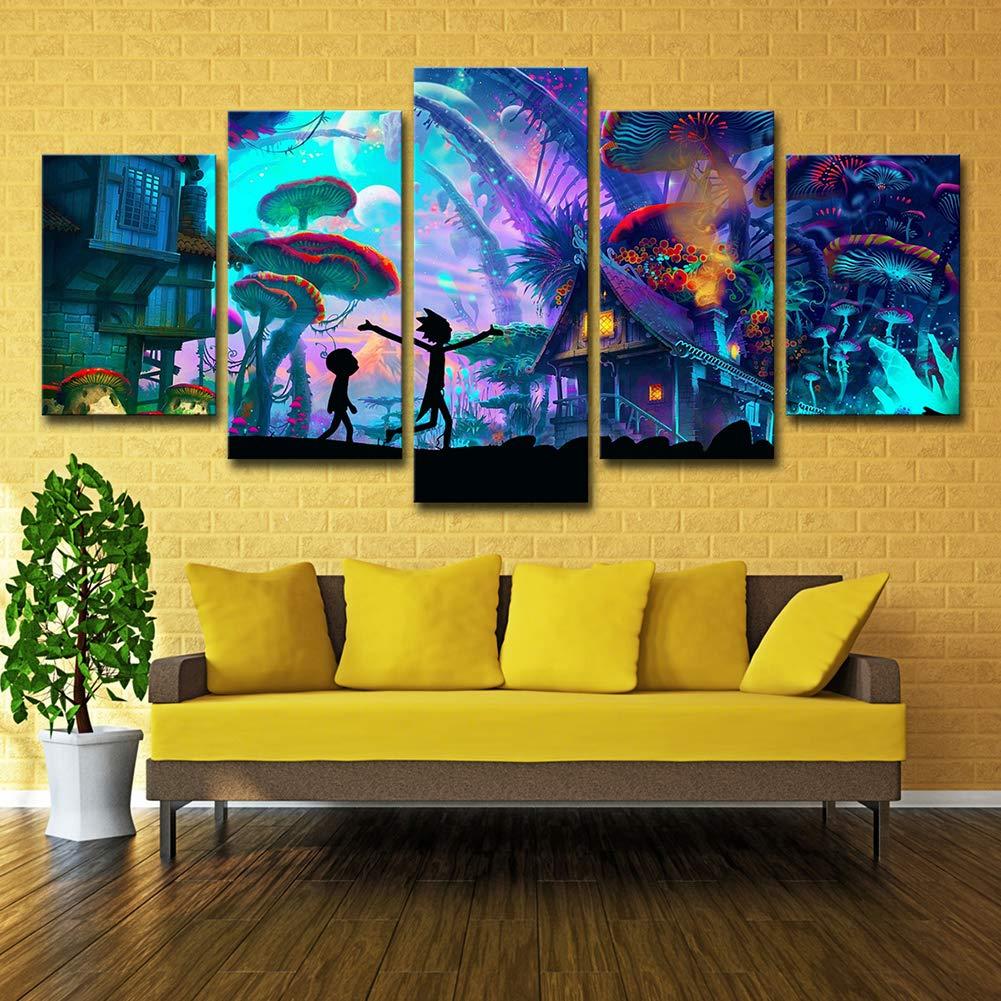 ZEMER Wand-Dekor Rick and Morty Poster Wandkunst Bild Leinwanddrucke Malerei 5 Panels Modern Für Kinderzimmer Home Decor,A,30X45x2+30X60x2+30X75x1