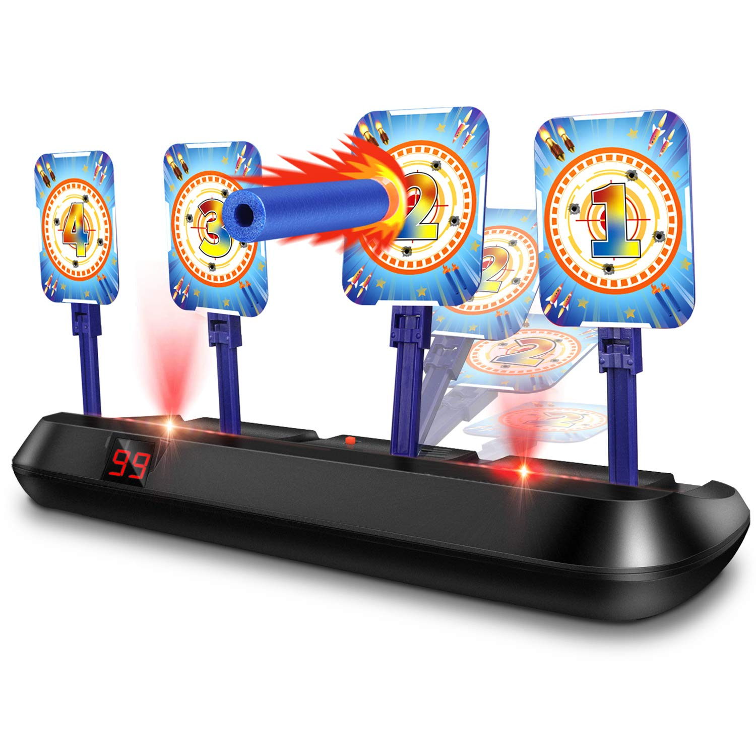 EKOOS Electric Shooting Target Shooting Game Toy for Kids with Auto Reset Digital Targets, Compatible with Nerf Guns Water Bomb Guns Popper Guns for Kids Toy Gun Shooting Practice