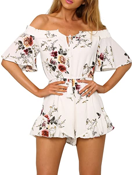 9357466eac Simplee Apparel Women s Boho Off Shoulder Floral Print Romper Tassel  Chiffon Jumpsuit Playsuit White
