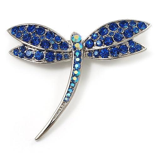 424dc3190fc4c Avalaya Classic Navy Blue Swarovski Crystal Dragonfly Brooch (Silver Tone)