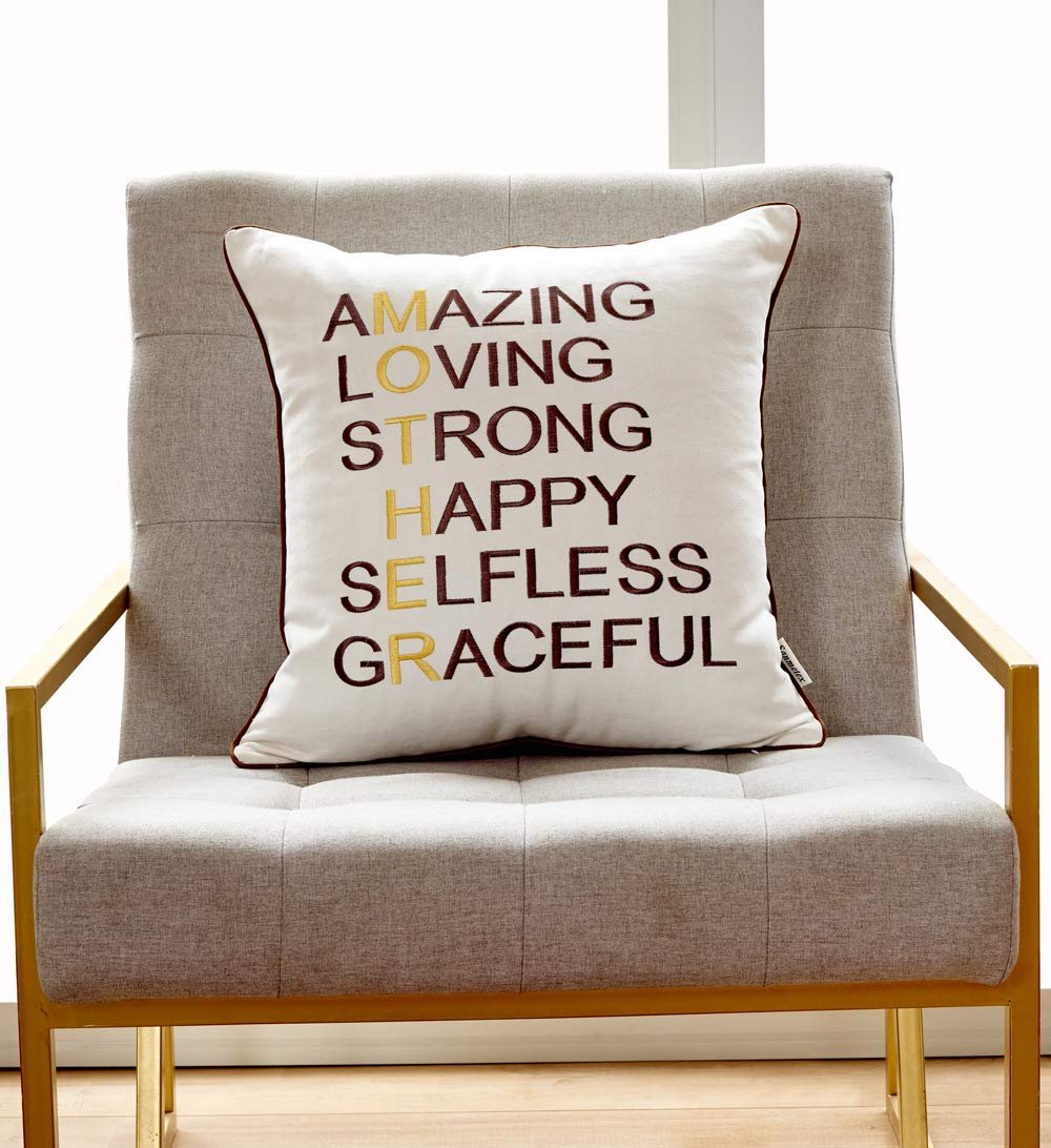 f141dd75201ee Sanmetex Thanksgiving Day/Christmas Mothers Day/Mother in Law Gifts  Embroidery Cotton Linen Pillow Case Decorative Cushion Cover 18