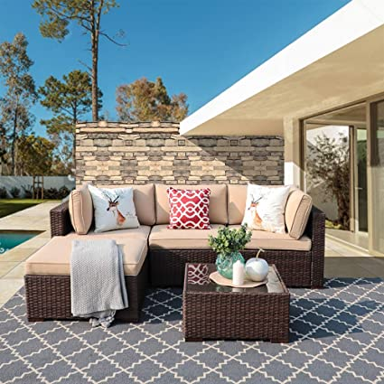 Excellent Super Patio Outdoor Patio Furniture Set 5 Piece All Weather Pe Brown Wicker Set Sofas With Glass Coffee Table And Ottoman Steel Frame Beige Home Interior And Landscaping Staixmapetitesourisinfo