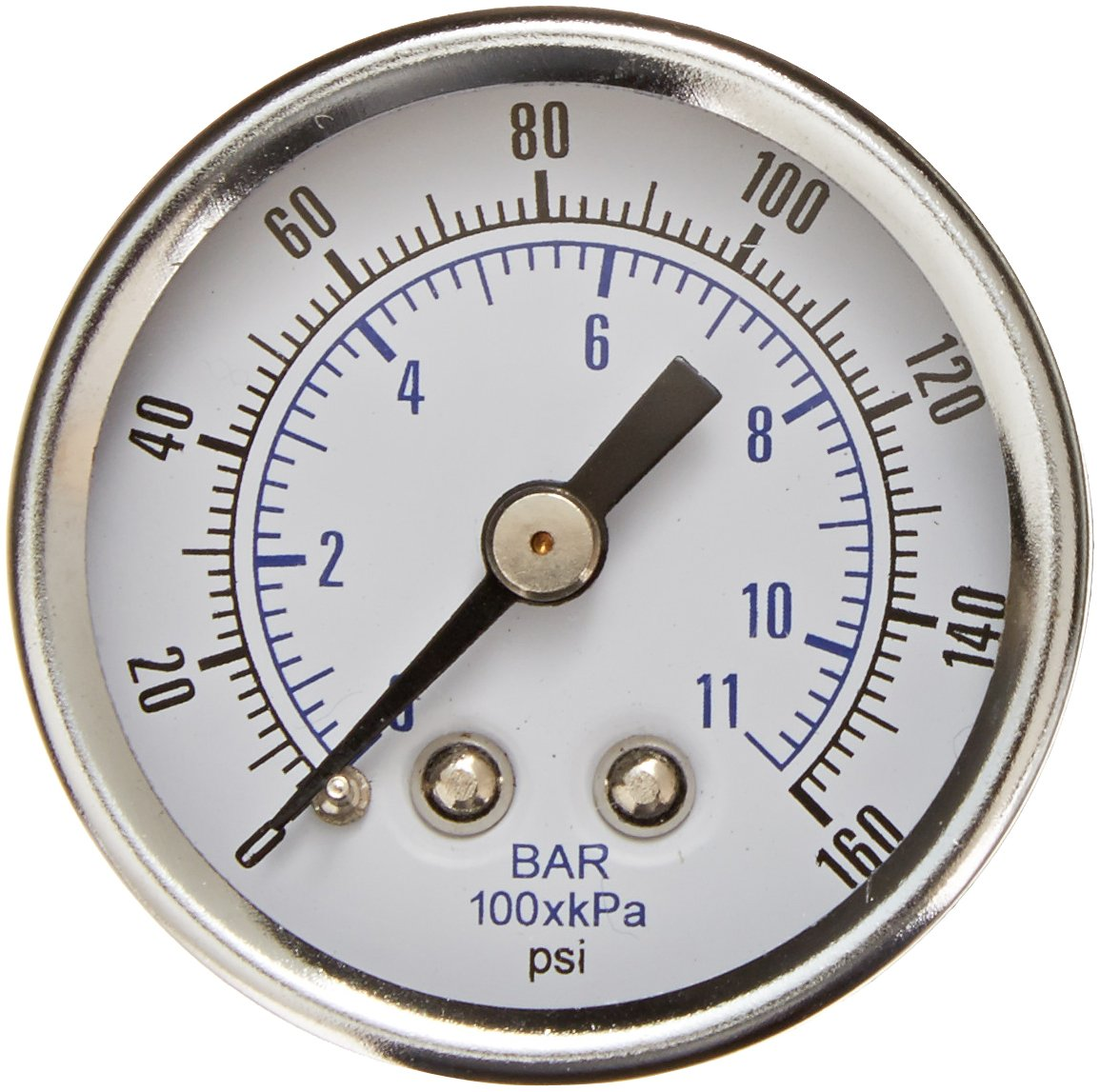PIC Gauge 102D-158F 1.5 Dial 0//160 psi Range Chrome Bezel Brass Internals Center Back Mount Dry Pressure Gauge with a Black Steel Case and Plastic Lens 1//8 Male NPT Connection Size