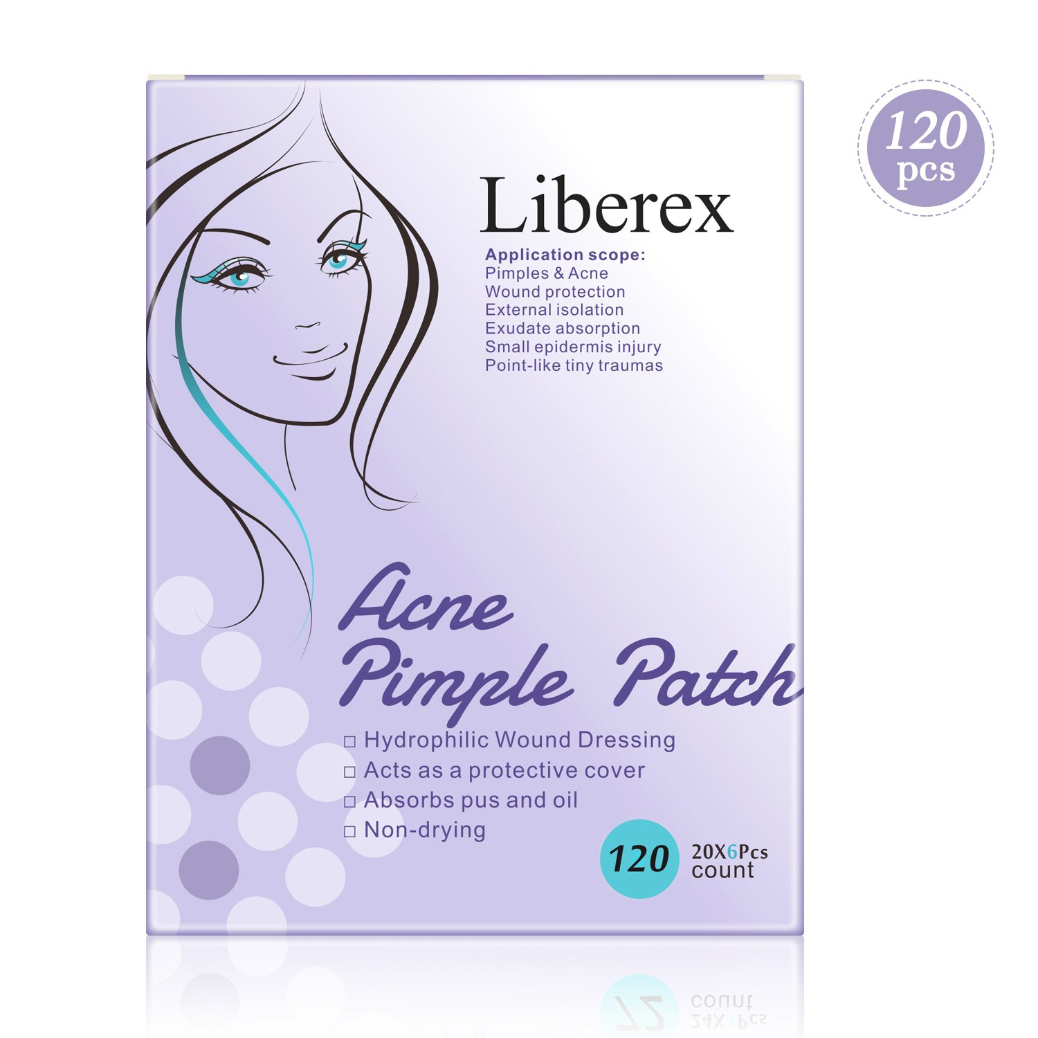 Liberex Acne Pimple Master Patch - 60 Patches Hydrocolloid Absorbing Dressing Bandages Cover, Φ12mm Φ12mm