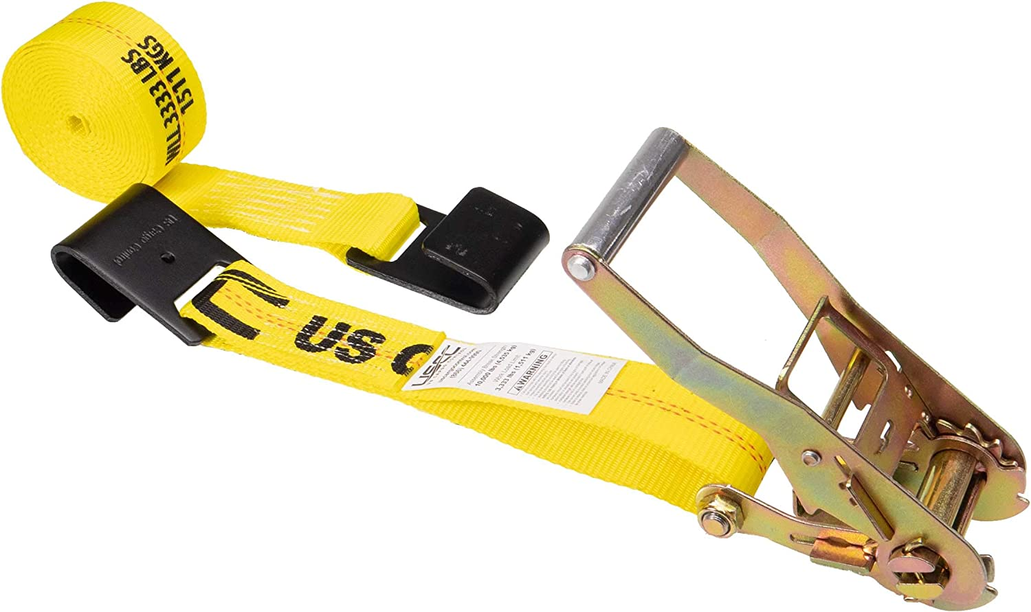 Utility Docks Two Ratchet Strap Tie-Downs Marinas 2 x 27 Heavy-Duty Flat Hook Trailer Straps Secure Cargo in Flatbed Enclosed Vans Trucks at Warehouses